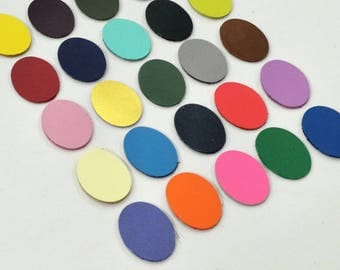 Leather Ovals, 50 pcs. (25 Pairs), 20mm.  30mm. 40mm., Mixed Colors, Leather Ovals Die Cut, Ovals Shape, Ovals Cut Outs, Ovals Style.