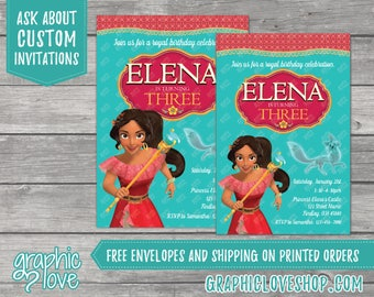 Elena of Avalor Personalized Birthday Invitations | 4x6 or 5x7, Digital or Printed