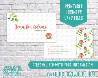 Printable, Personalized Double Sided Watercolor Roses Business Cards | Calling Card, Contact, Small Biz | Digital JPG, PNG and PDF Files