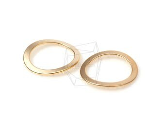 PDT-1210-MG/2PCS/Flat Circle Frame Pendant/22mm x 22mm/Matte Gold Plated over Brass
