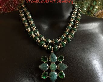 Color of Envy Necklace in African Emeralds and Malachite, Statement, Semiprecious Stones, Czech Beads, Green, Art Jewelry, Special Occasion