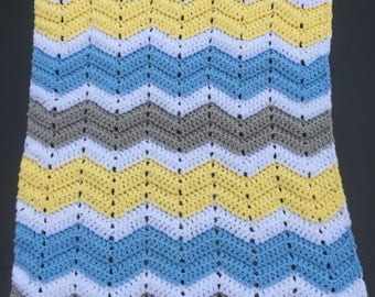 Crocheted Chevron  Baby Blanket for a Boy or Girl