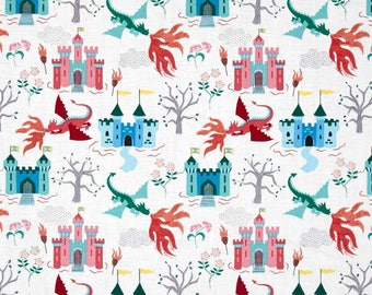 Dragons Fairytale Dragon Castle on Cream Cotton Fabric by Lewis and Irene
