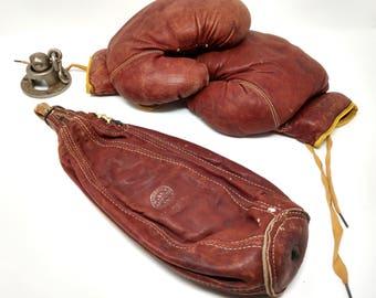 Vintage Marathon Boxing Leather Gloves And Boxing Punching Speed Bag, Boxing Punching Bag, Brown Leather Boxing Gloves and Punching Bag