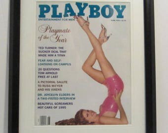 Vintage Playboy Magazine Cover Matted Framed : June 1995 - Julie Cialini