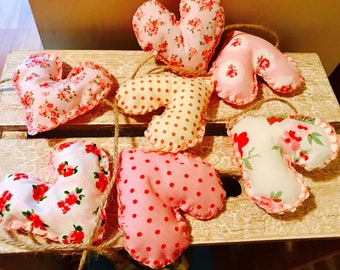 Handmade Vintage Pink Patterned Fabric Heart Bunting