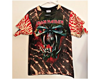 Reworked Upcycled Iron Maiden Distressed Tshirt