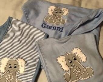 Baby Layette Set, baby gift, elephant, baby boy, baby girl