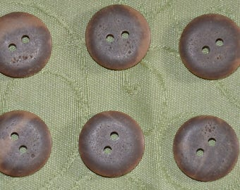 set of 6 Brown novelty buttons