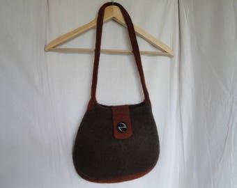 brown felt bag, felt winter handbag, brown shoulder bag, wool felted bag, brown and tan bag, brown felt handbag, handbag with vintage button