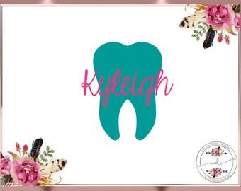 Tooth Decal - Dental Hygienist - Dental Tech Decal - Tumbler Decal - Monogram Decal - Cup Decal - Dental Monogram Decal - Car Decal
