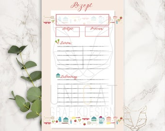recipes insert sheets for Filofax Personal, download, printable