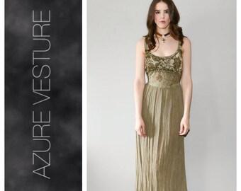 90s Hippie Dress. 1990s Boho Gypsy Dress. Crushed Velvet Embroidered Bohemian Maxi Dress, Festival Dress, Gypsy Dress. Medium Large