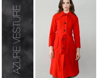 70s Wool Coat. XS.   1970s Dagger Collar, Pointed Lapel Dramatic Lapel Coat. Red Winter Coat. Narrow