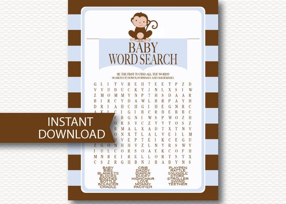 Monkey Boy Baby Shower Word Search Game Card Instant