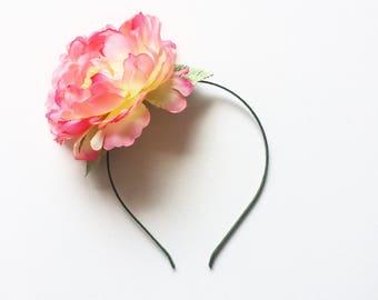 Peony Kisses Flower Crown   Pink and Yellow Peony Floral Wedding Fascinator Headband
