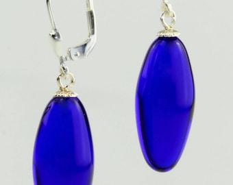 Silver rhodium-plated earrings olive / Brisur 925/000, Kaneko