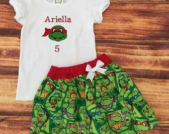 Raphael Birthday Outfit, Teenage Mutant Ninja Turtle Dress, Ninja Turtle, Ninja Turtle Birthday, Ninja Turtle Party, TMNT Birthday, Handmade
