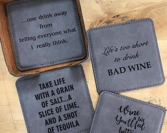 Leather Coasters with Holder