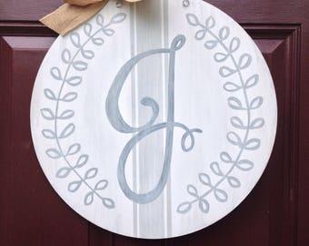 Monogram Door Hanger, Farmhouse Door Hanger, French Ticking Door Hanger