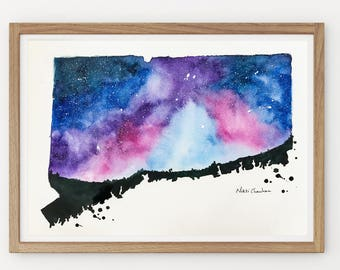 Connecticut Map, Original Watercolor Painting, Illustration, Galaxy, US State, Modern Wall art, Christmas Holiday Gift, Long Distance art