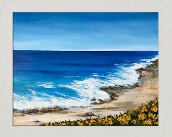 California Painting, Seascape art, California Beach, Monterey Bay, Modern art, Painting on canvas, Acrylic Landscape, Coastal Decor