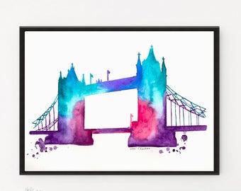 London Watercolor painting, City art, London poster, Illustration Print, Travel Illustrator, Architecture art, Modern Wall art, City print