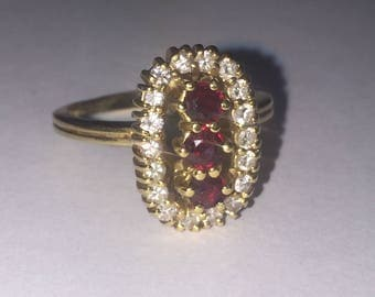 Retro Three-Stone Ruby and Diamond Ring in 18K Yellow Gold. Hand-crafted.
