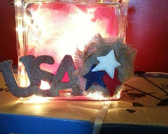 USA Decorated Light up Glass Block decor