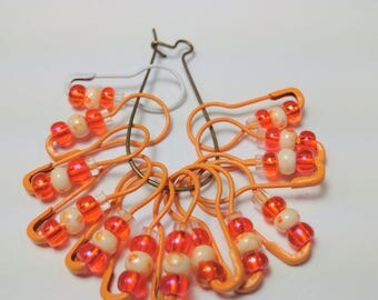 Locking Stitch Marker Set of 13, Bulb end pin stitch markers, orange