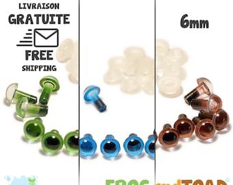 6mm Blue Green Brown - Amigurumi Crochet - Safety Eyes - Yeux de sécurité - Occhi di sicurezza - Sicherheitsaugen - Ojos de seguridad