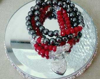 Designer Inspired Ladies Hematite & Red Beaded Charm Bracelet, anniversary gifts, birthday gifts, mother's day gifts, gifts for her