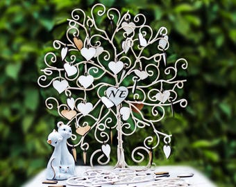 "Wedding Metal Guest Book ""Love tree"" With wooden hearts,Handmade,steel wire, unique product"