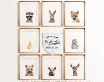 Woodland nursery decor, Baby woodland animals nursery, Animal prints, PRINTABLE wall art, Baby animal prints, Nursery decor, Fox print, Owl