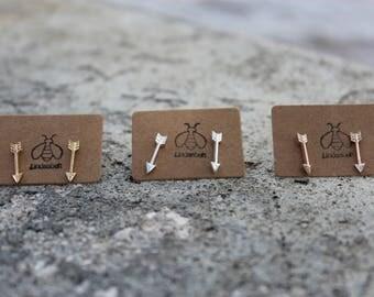 Skadi gold arrow earrings, Arrow Earrings, Rose gold arrow earrings, Silver arrow earrings, Minimalist earrings, arrow stud earrings