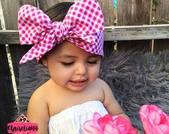 PINK GINGHAM Headwrap, Fabric Headwrap, Baby Headwrap, Toddler Headwrap, Bow Headwrap, pink headwrap, Newborn Headwrap, Turban Headwrap