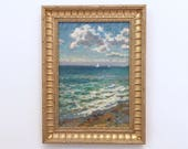 Turquoise Waters Original Vintage Oil Painting Signed Framed