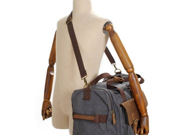 Waxed Canvas Duffel Bag,Canvas Leather Luggage Bag , Canvas Leather Travel Bag Mens, Weekender Bag Mens, Men Gym Bag
