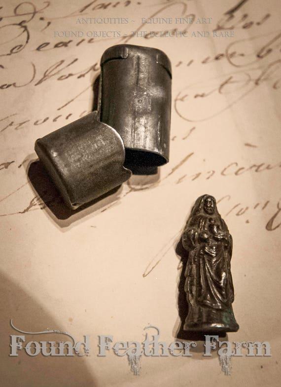 Antique French WWI Pewter Pocket Shrine Circa 1914-1918