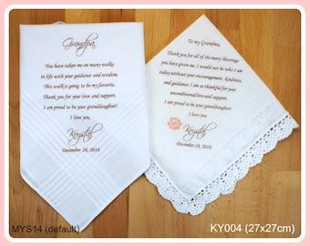 Wedding Handkerchief-Set of 2-Grandparents of the Bride-PRINTED-CUSTOMIZED-Wedding Hankerchief-Wedding Gift-Grandmother-Grandfather-of Bride