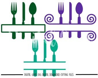 Cutlery, Kitchen svg / dxf / eps / png files. Digital download. Compatible with Cricut and Silhouette machines. Small commercial use ok.