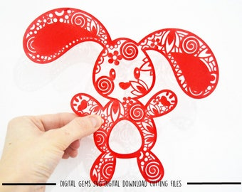 Zentangle Bunny Rabbit paper cut svg / dxf / eps / files and pdf / png printable templates for hand cutting. Download. Commercial use ok