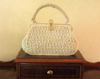 Vintage White Crochet Handbag With Gold Toned Hardware- Made In Italy-VGC