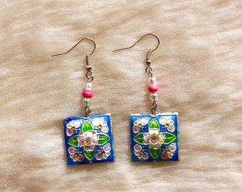Bright Blue & Pink Floral Beaded Earrings