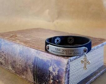 Black leather cuff bracelet leather jewelry inspirational cuff bracelet Christian Cross charm bracelet western cuff southern charm jewelry