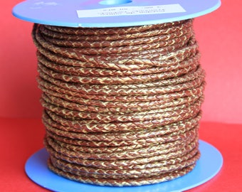 "MADE IN SPAIN  24"" of 3mm braided leather cord, braided leather cord, 3mm round braided  leather cord, (tr3mtorv)"
