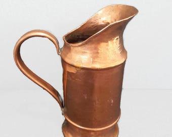 vintage french copper pitcher, antique copper jug