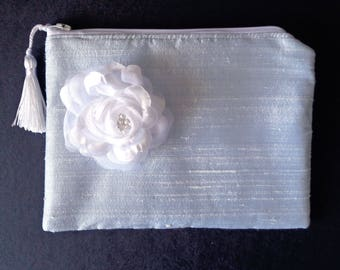 Blue silk clutch, powder blue silk purse,  brides clutch, bridesmaid gift, evening bag, bridal clutch, white floral clutch