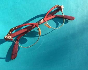 Red Cat Eye Glasses, Cat Eye Glasses, Cat Eyeglasses, Retro Eyeglasses, Cat Eye Frames, Pin Up Cat Eyes, Vintage Eyewear, Vintage Eyeglasses