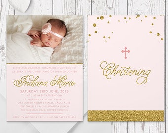Photo Baptism Invitation Christening Invitation, Baby Girl Invites, Pink and Gold Glitter, Printed Professionally, Peach Perfect Australia